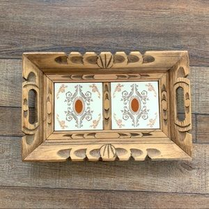 Mexican Carved Wood and Tile Tray with Handles